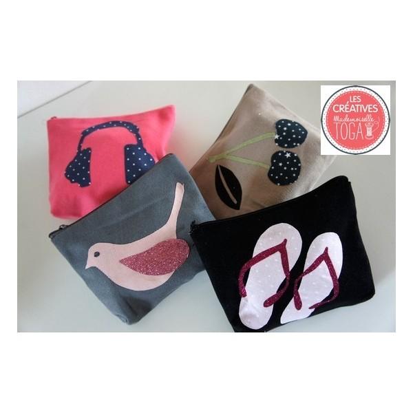 Trousse rose avec soufflet d corer support textile customiser par toga - Customiser une cagette ...