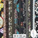 Lot de 5 coupons tissus à motifs NOIR 30 X 30cm