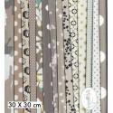 Lot de 5 coupons tissus à motifs TAUPE 30 X 30cm