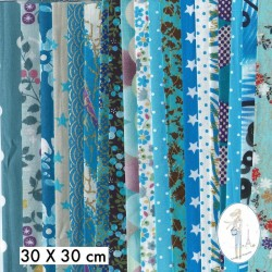 Lot de 5 coupons tissus à motifs TURQUOISE 30 X 30cm