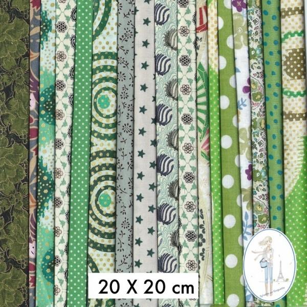 Lot de tissus pas cher en ccoupon 30x30 cm - Lot tissus patchwork pas cher ...