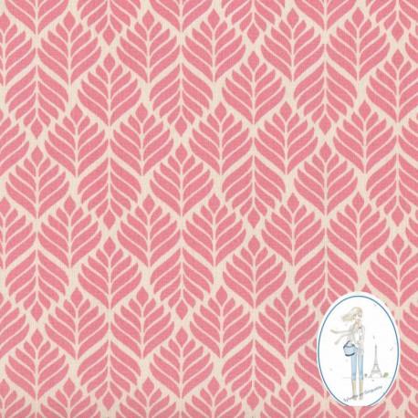 toile cir e au m tre pas cher feuillage rose pour nappes. Black Bedroom Furniture Sets. Home Design Ideas