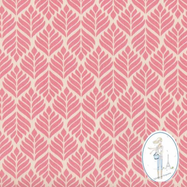 Toile cir e au m tre pas cher feuillage rose pour nappes for Au maison toile ciree