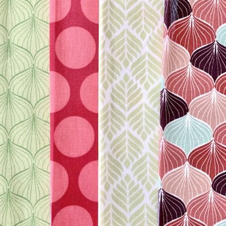 4 coupons de toile cirée rose et vert tendre