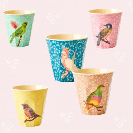 Gobelet Rice décor oiseau