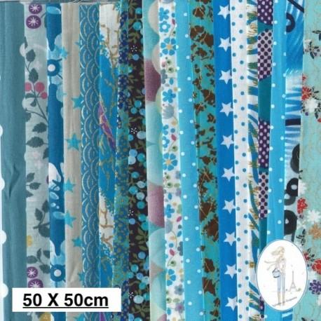 Lot de 3 coupons tissus à motifs TURQUOISE 50 X 50cm