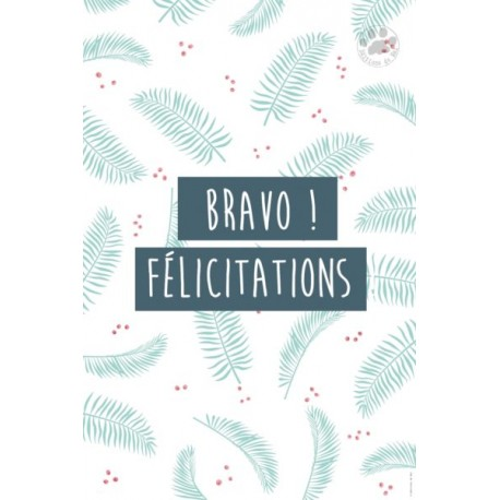Carte à message Bravo félicitations
