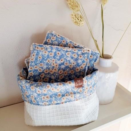 Lingettes lavables et pochon assorti