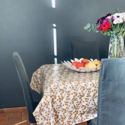 Toile cirée écrue et moutarde Amalie