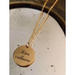 Collier médaille gravée Mère Veilleuse