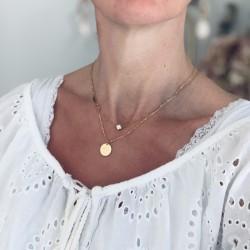 Collier médaille gravée Maman