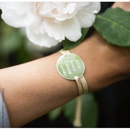 Bracelet lurex et plaque gravée or/argent