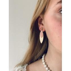 Boucle d'oreille Or et Cuir - Magalie