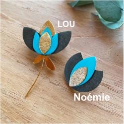 Broche fleurs Or et Cuir - Noémie ou LOU