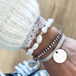 Bracelet lurex et médaille gravée or - argent