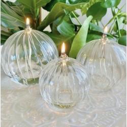 Lampe à huile sphère striée