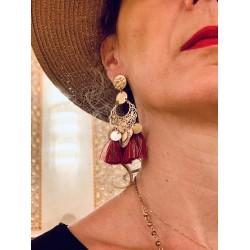 Boucle d'oreille Or et pompon rouge - Sharma