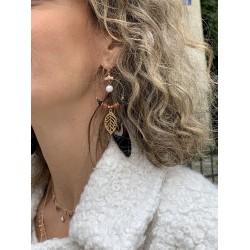 Boucle d'oreille Or et plume - Calimity Jane