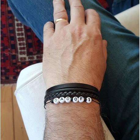Bracelet prénom pour homme lettre perle