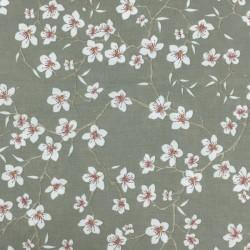 Tissu coton enduit vert sauge fleurs de cerisier