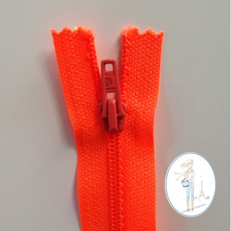 Fermeture éclair orange fluo