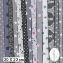 Lot de 5 coupons tissus à motifs GRIS 30 X 30cm