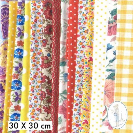 Lot de 10 coupons tissus à motifs JAUNE - ORANGE 20 X 20cm