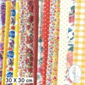 Lot de 5 coupons tissus à motifs JAUNE - ORANGE 30 X 30cm