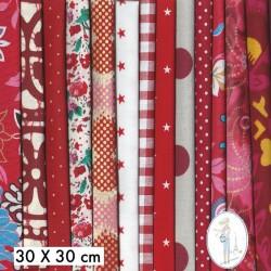 Lot de 5 coupons tissus à motifs ROUGE 30 X 30cm