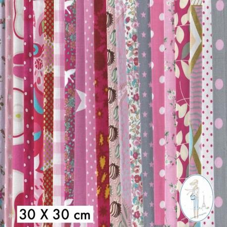 Lot de 5 coupons tissus à motifs ROSE 30 X 30cm