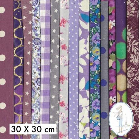 Lot de 10 coupons tissus à motifs MAUVE 20 X 20cm