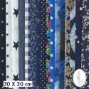 Lot de 5 coupons tissus à motifs BLEU 30 X 30cm
