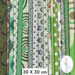Lot de 5 coupons tissus à motifs VERT 30 X 30cm