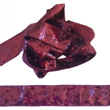 Galon paillettes large 4cm bordeaux