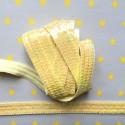 Galon paillettes rondes large jaune pastel