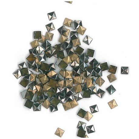 Assortiment clous thermocollants triangle 3D 8mm Bronze, argent, Anthracite