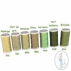 Fil à coudre polyester 200m vert de gris - 561