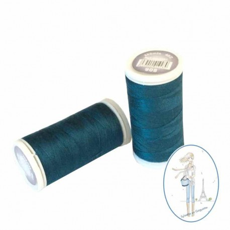 Fil à coudre polyester 200m bleu canard - 908