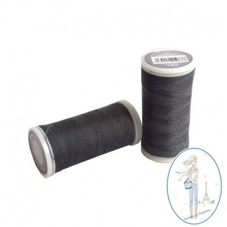 Fil à coudre polyester 200m gris anthracite - 182