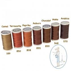 Fil à coudre polyester 200m chocolat - 859