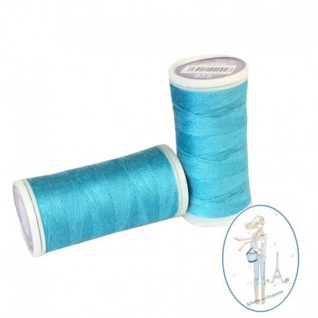 Fil à coudre polyester 200m bleu lagon - 833