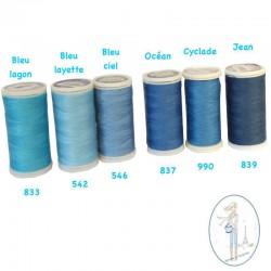 Fil à coudre polyester 200m bleu ciel - 546