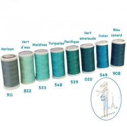 Fil à coudre polyester 200m vert d'eau - 822
