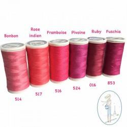 Fil à coudre polyester 200m rose indien - 517