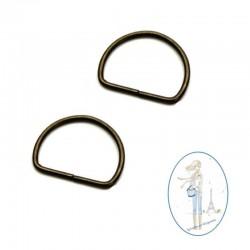 Anneau demi rond métal bronze - 30mm