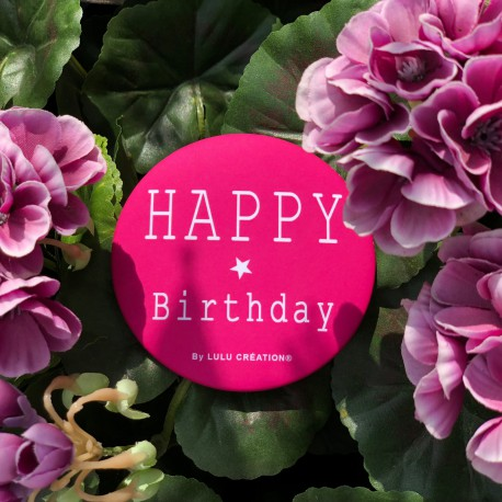 Magnet personnalisé Happy birthday framboise