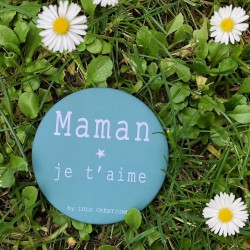 Magnet personnalisé Maman je t'aime vert de gris