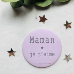 Magnet personnalisé Maman je t'aime rose poudré