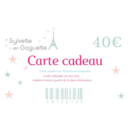 Carte cadeau 40 € à imprimer ou à envoyer par mail