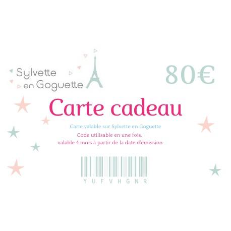 Carte cadeau 80€ à imprimer ou à envoyer par email